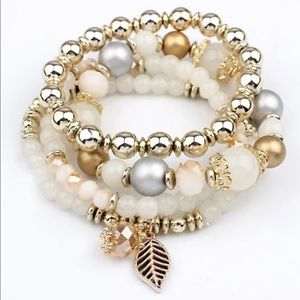 Jewelry - New! Gold and Whit Stretch Bracelet